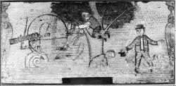 Inv. številka: MRO; ČM-0000133 Panjska končnica: Polž preganja lene krojače Poslikana panjska končnica z okroglo odprtino; pokrov odprtine je pritrjen na usnjenem traku.