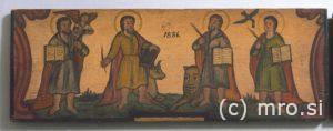 Poslikana panjska končnica. Štirje evangelisti.