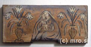 Poslikana panjska končnica. Marija z Detetom.