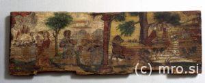 Poslikana panjska končnica. Kajn in Abel levo ter Absolom desno.