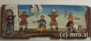 Poslikana panjska končnica. Kamenjanje Svetega Štefana.