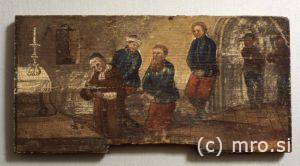 Poslikana panjska končnica. Nadvojvoda Maksimilijan pri spovedi pred usmrtitvijo.