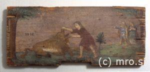 Poslikana panjska končnica. Samson ubije leva.