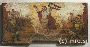 Poslikana panjska končnica. Kristusovo vstajenje.