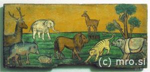 Poslikana panjska končnica. Živali z Noetove barke.